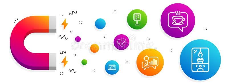 Seo statystyki, Medyczne pigułki i wykresu laptop ikony ustawiać, Kawa, parking i Dźwigowa pazur maszyna, podpisujemy wektor ilustracji