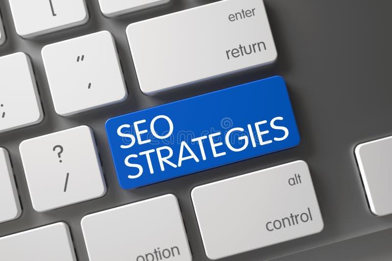 SEO Strategies CloseUp of Keyboard. 3D. stock images