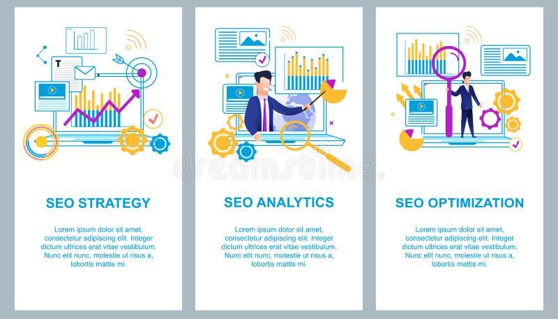 SEO Strategy SEO Analytics för optimizationseo för bakgrund 3d illustration isolerad white royaltyfri illustrationer