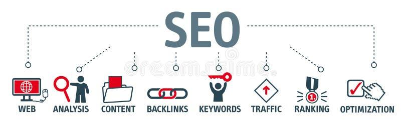 SEO-Suchmaschinen-Optimierungs-Illustration lizenzfreie abbildung