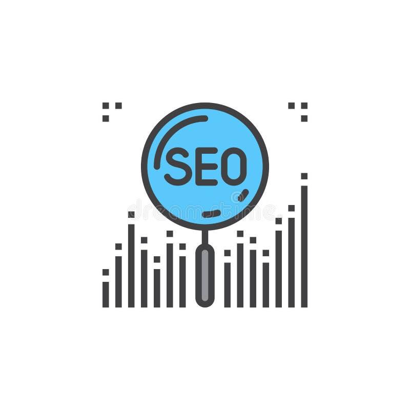 SEO Symbol De lijnpictogram van de zoekmachineoptimalisering, gevuld overzicht vector illustratie