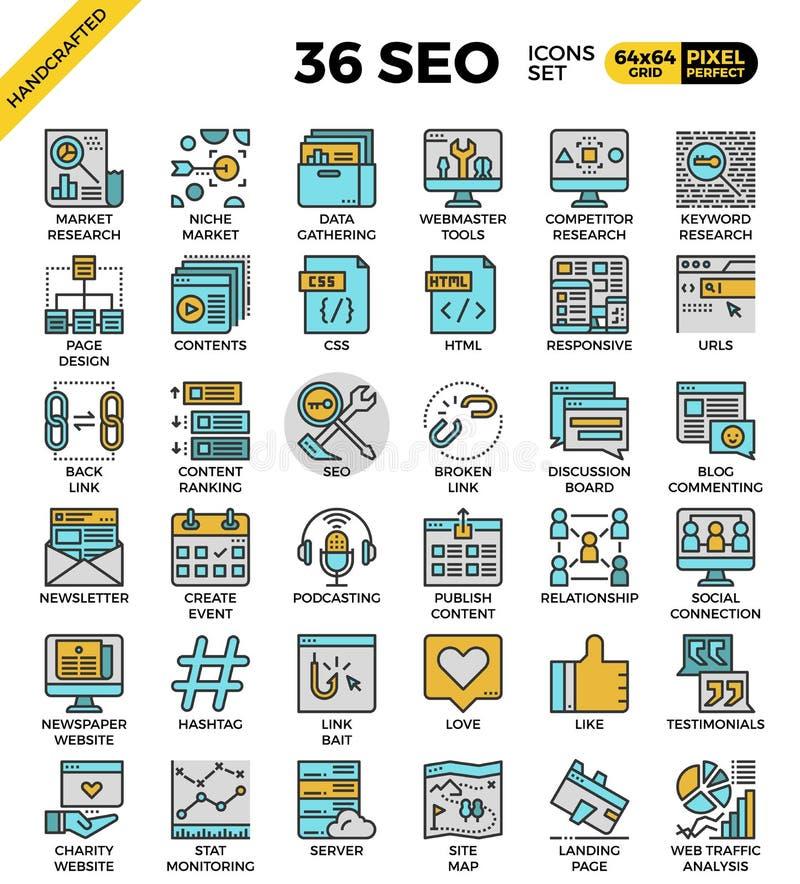 SEO - symboler för sökandemotoroptimization vektor illustrationer