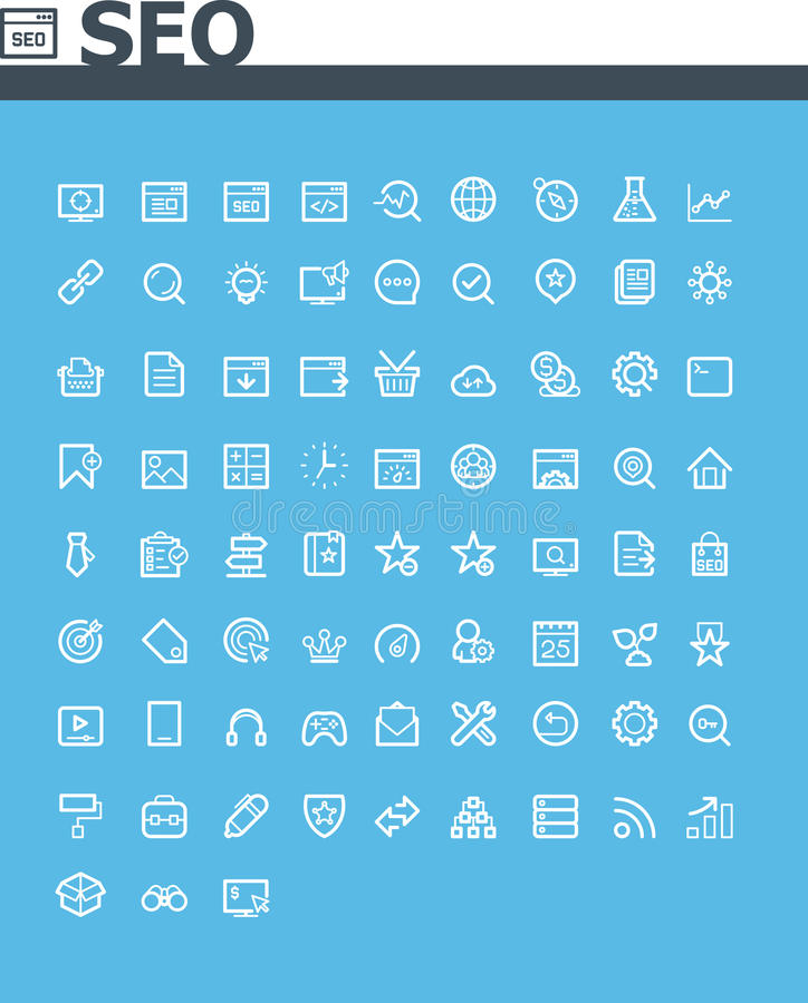 SEO-symbolsuppsättning royaltyfri illustrationer