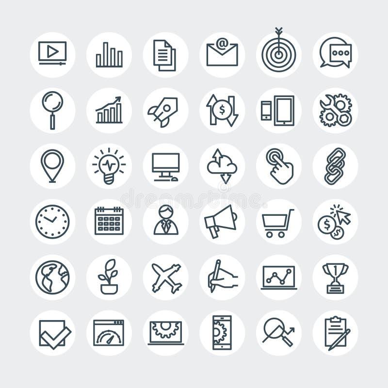 SEO-symbolsuppsättning vektor illustrationer