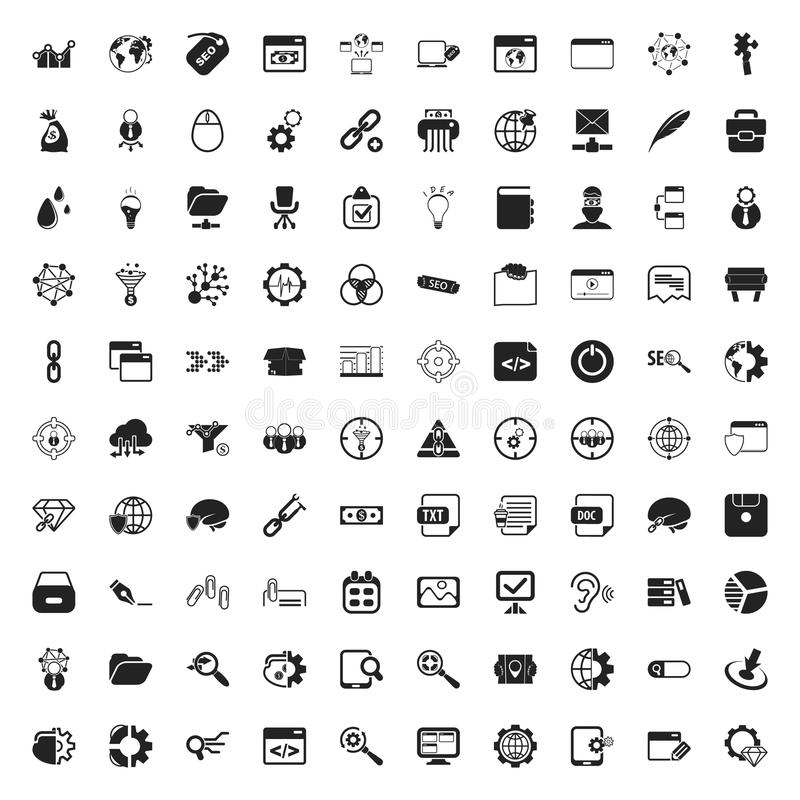 Seo 100 symbolsuppsättning för rengöringsduk vektor illustrationer