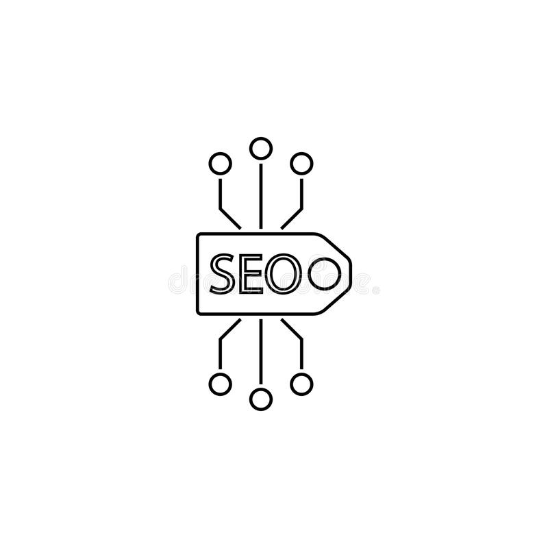 Seo tag line icon royalty free illustration
