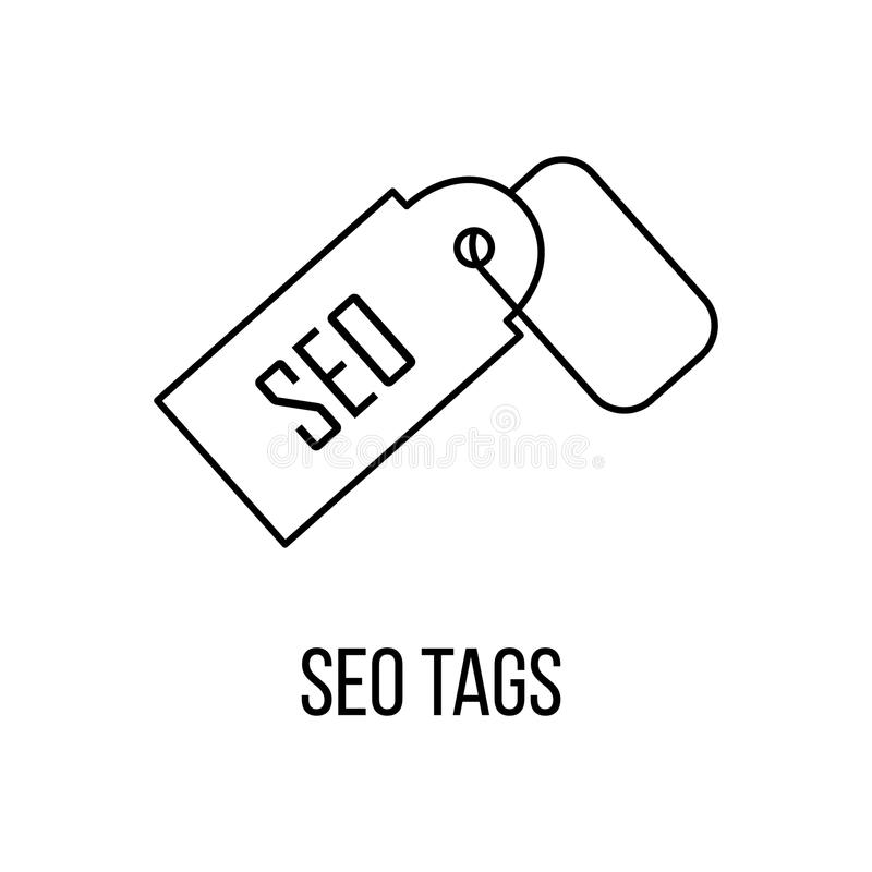 SEO tags icon or logo line art style. vector illustration