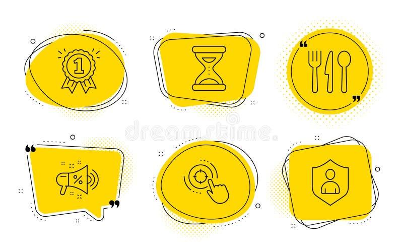 Seo target, Time and Food ícones set Sinal de megafone de venda, recompensa e segurança Clique em apontar, Relógio, Corte Vetor ilustração do vetor