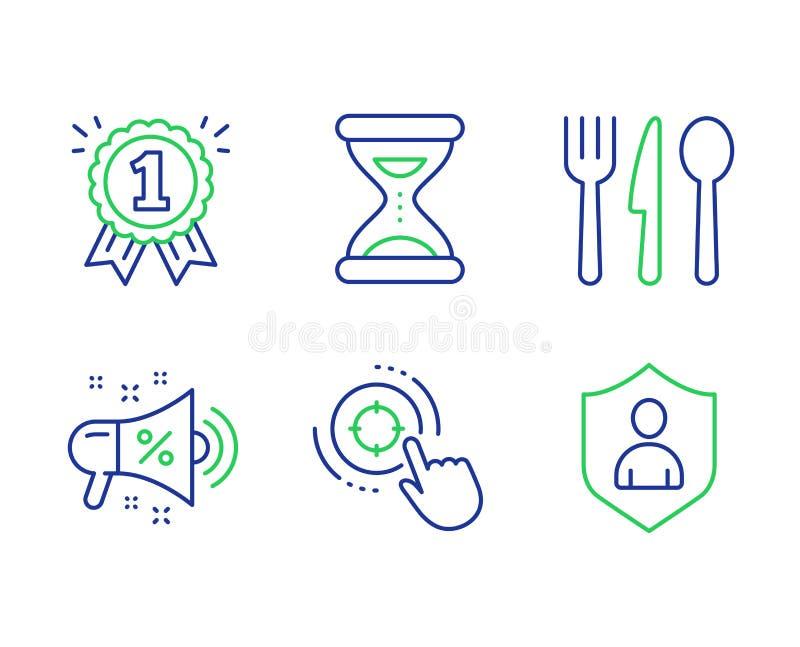 Seo target, Time and Food ícones set Sinal de megafone de venda, recompensa e segurança Clique em apontar, Relógio, Corte Vetor ilustração royalty free
