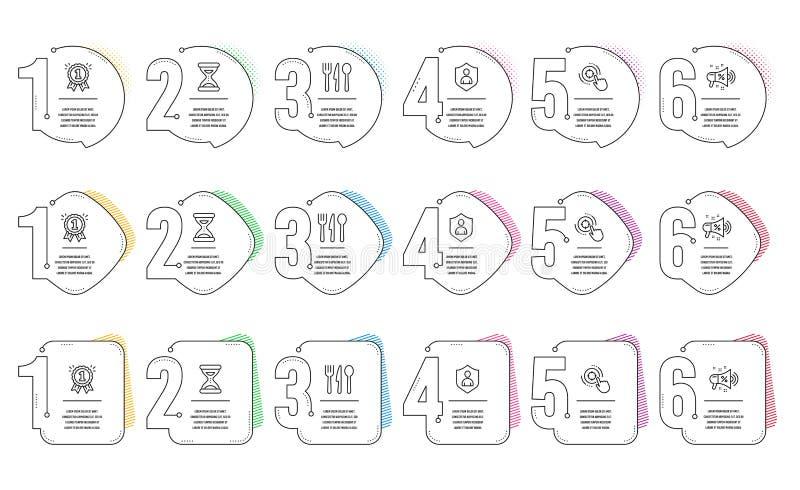 Seo target, Time and Food icons set Sinal de megafone de venda, recompensa e segurança Clique em aim, Clock, Cutlery Vetor ilustração royalty free