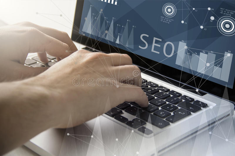 Seo techie working royalty free stock image