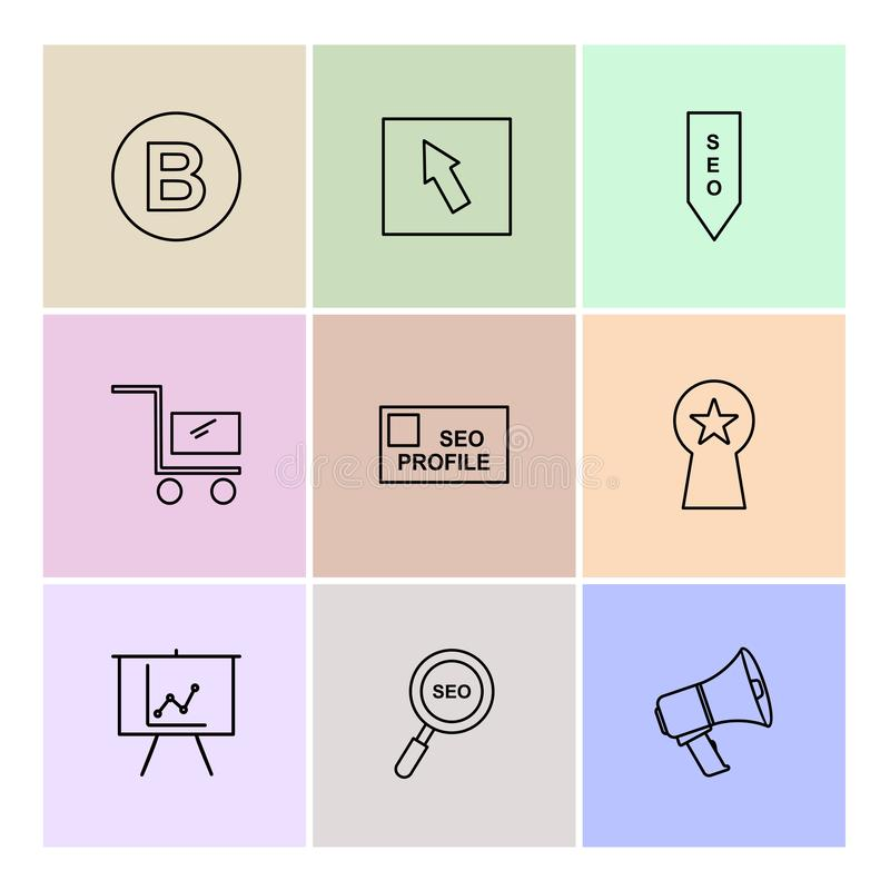 seo, technologia, internet, flaga, komputer, eps ikony ustawia v royalty ilustracja