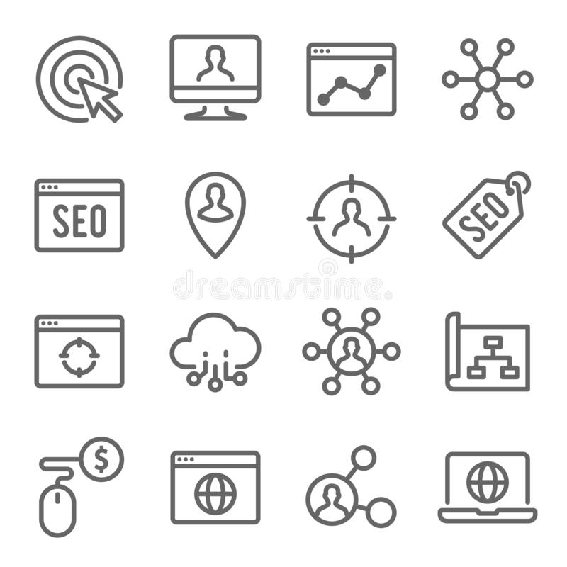 SEO Technology Line Icon Set Bevat dergelijke Pictogrammen zoals Website SEO, Zoeken, Zoekmachine en meer Uitgebreide slag stock illustratie
