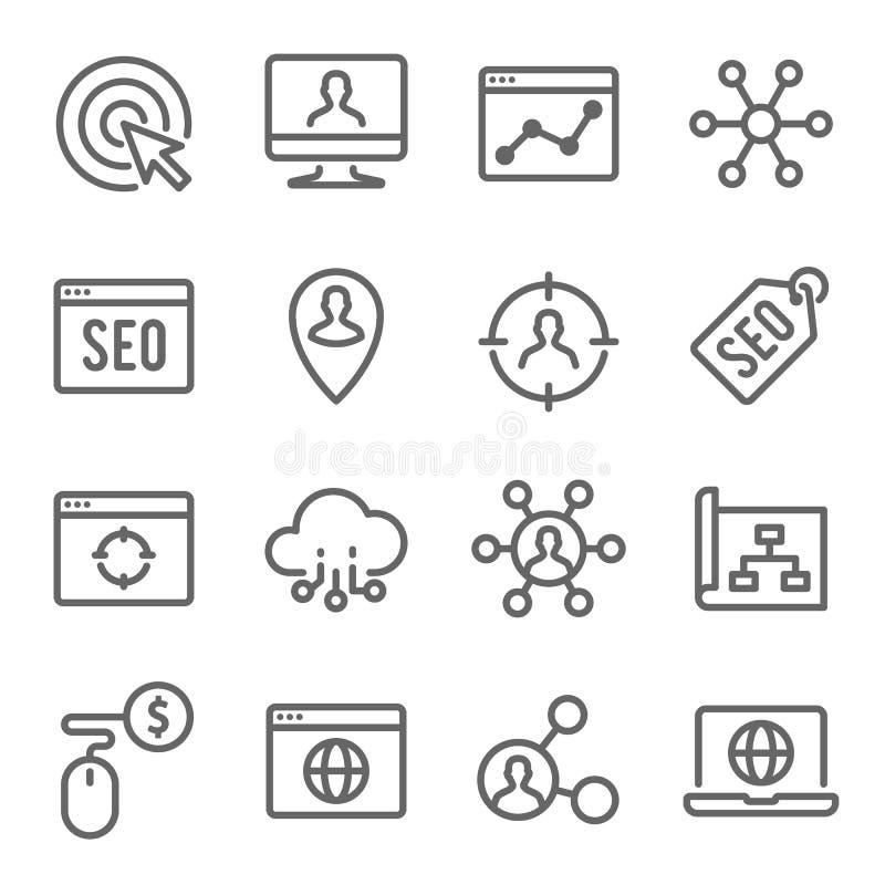 SEO Technology Line Icon Set Contiene los iconos tales como la página web SEO, búsqueda, Search Engine y más Movimiento ampliado stock de ilustración