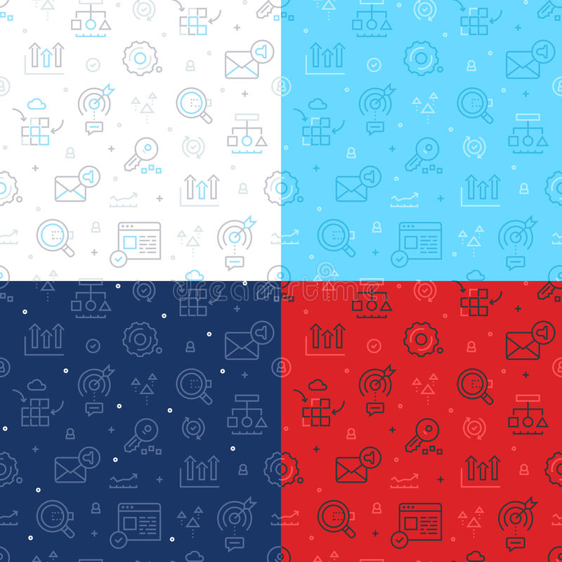 SEO Technology Seamless Pattern. Seamless line icons pattern of SEO and internet technology. Pattern is available in four colors: light grey, red, blue and dark royalty free illustration