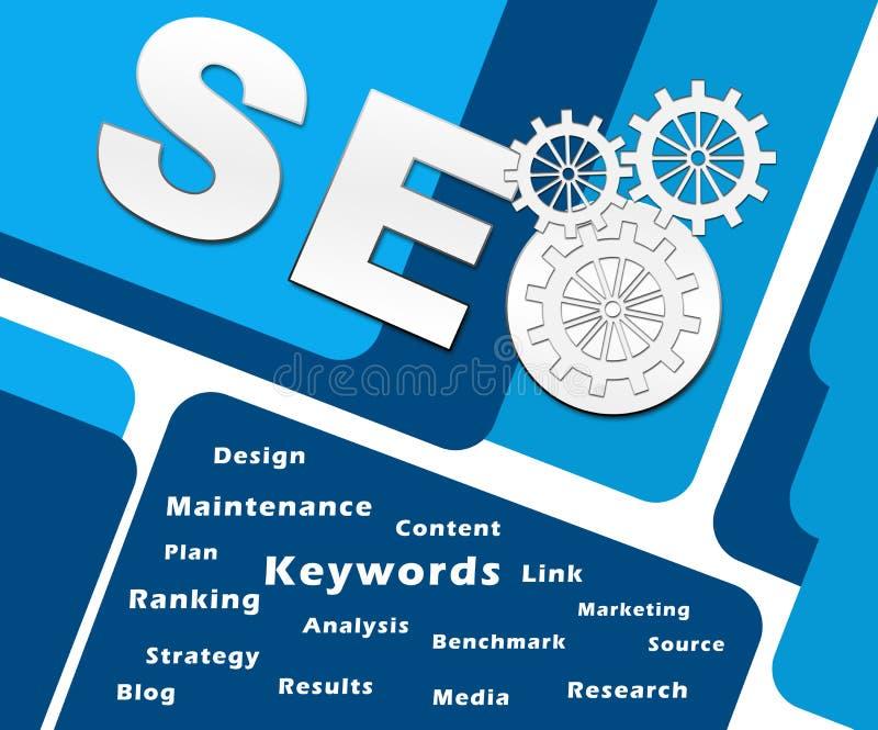SEO Text Symbols Keywords Square ilustração stock