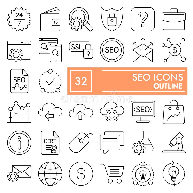 SEO thin line icon set, marketing symbols collection, vector sketches, logo illustrations, optimization signs linear vector illustration