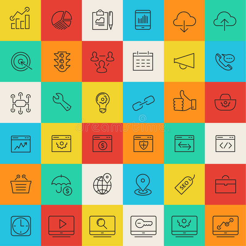 SEO thin line icons stock illustration