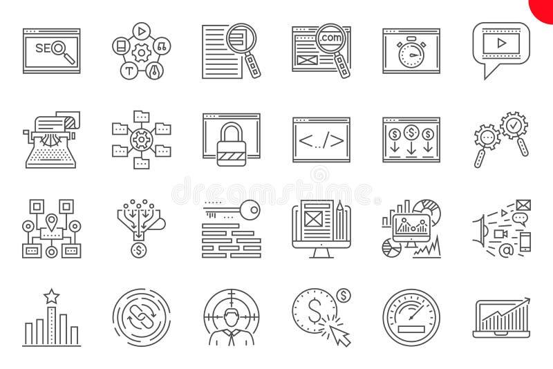 Seo Thin Line Related Icons stellte auf wei?en Hintergrund ein stock abbildung