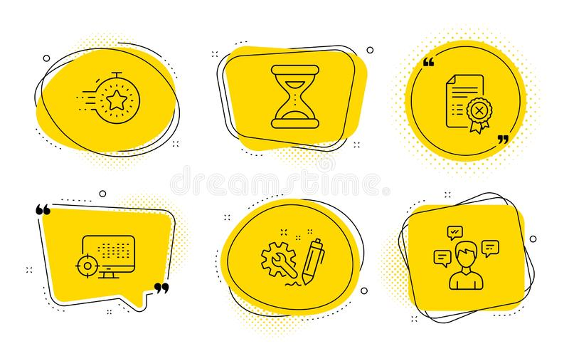 Seo, Time and Engineering icons set. Timer, Reject certificate and Conversation messages signs. Vector. Timer, Reject certificate and Conversation messages signs vector illustration