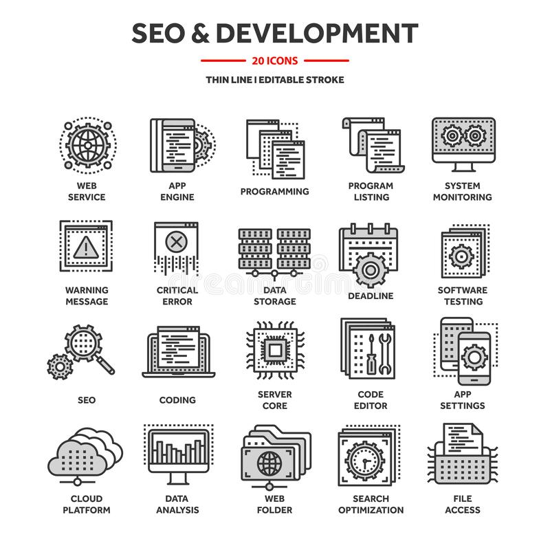 Seo und APP-Entwicklung Begriffsbild mit Schlüsselwortwolke um SEO Zeichen Internet, E-Commerce Dünne Linie blauer Netzikonensatz lizenzfreie abbildung