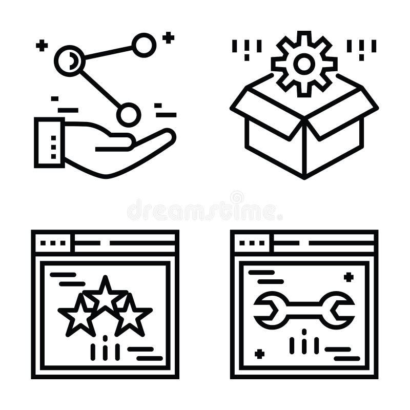 Seo und Netz-Ikonen rollen zusammen vektor abbildung