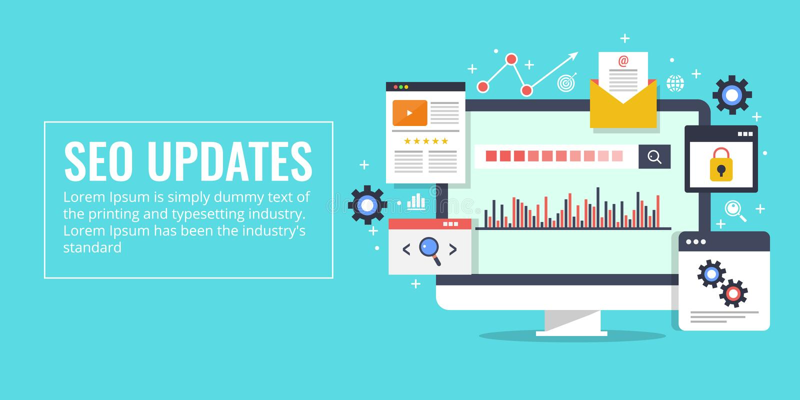 Seo uppdateringar, sökandemotoroptimization, marknadsföring, analyticsbegrepp Plant designvektorbaner vektor illustrationer