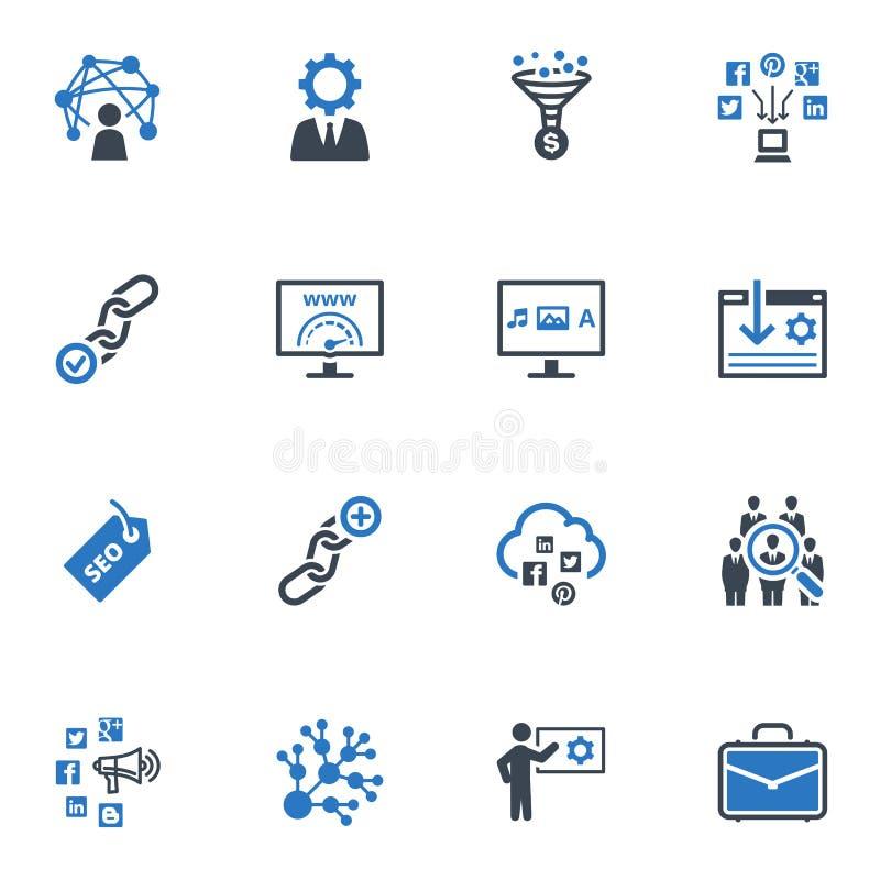 SEO & uppsättning 2 för internetmarknadsföringssymboler - blå serie stock illustrationer