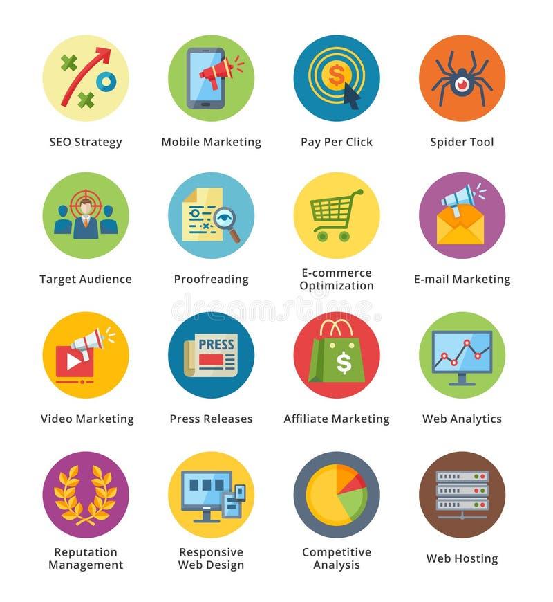 SEO & uppsättning 3 för symboler för internetmarknadsföringslägenhet - bubbla stock illustrationer