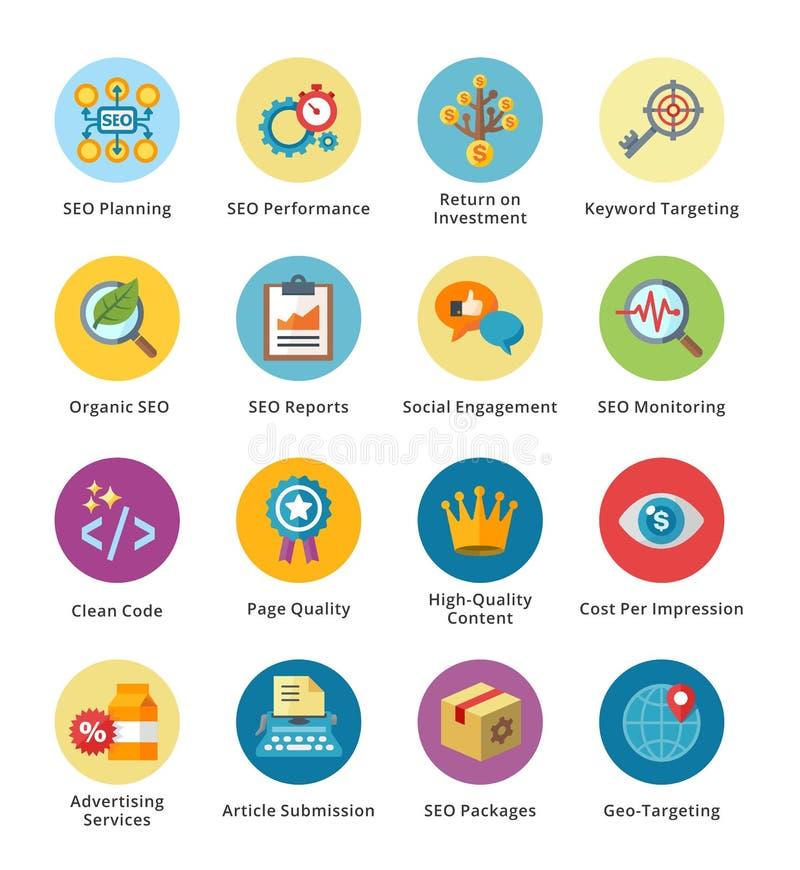 SEO & uppsättning 4 för symboler för internetmarknadsföringslägenhet - bubbla royaltyfri illustrationer