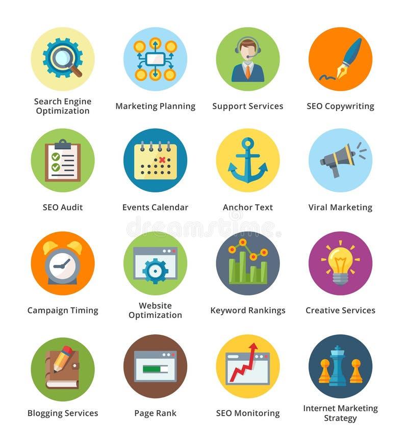 SEO & uppsättning 5 för symboler för internetmarknadsföringslägenhet - bubbla royaltyfri illustrationer