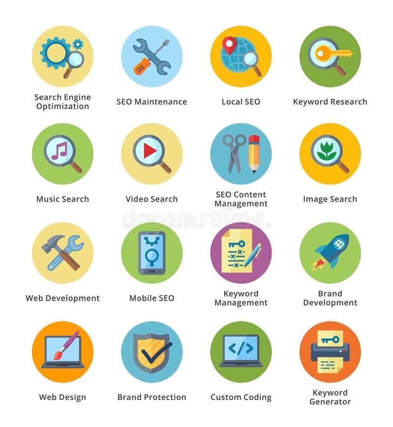 SEO & uppsättning 1 för symboler för internetmarknadsföringslägenhet - bubblaserie royaltyfri illustrationer