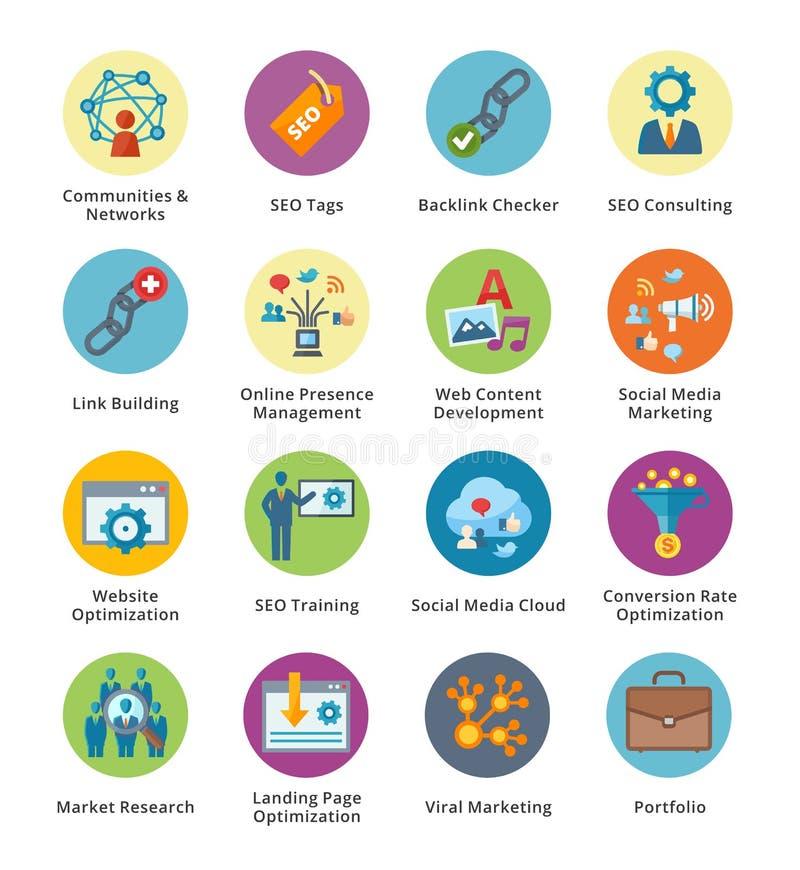 SEO & uppsättning 2 för symboler för internetmarknadsföringslägenhet - bubblaserie vektor illustrationer