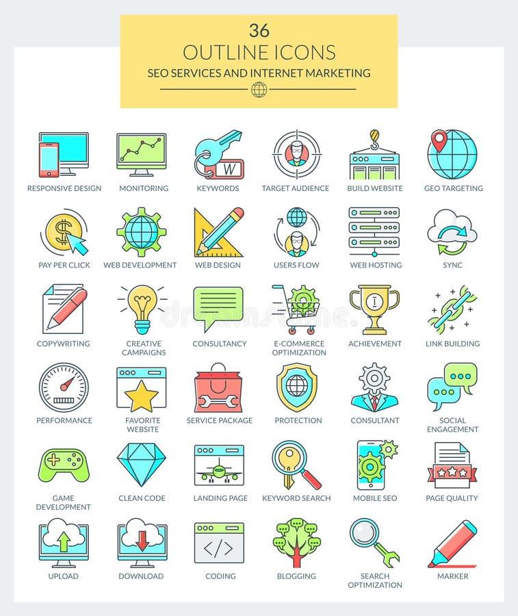 SEO usługa i Internetowe Marketingowe ikony (kolor) royalty ilustracja