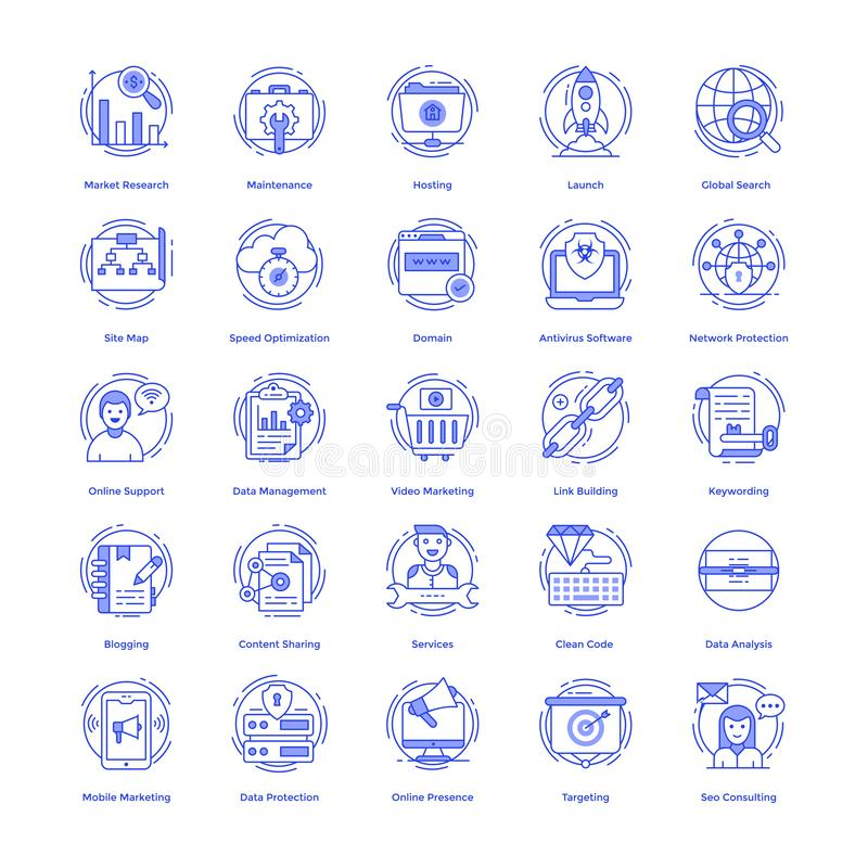 Seo Vector Icons Pack. Here is a pack of seo icon in line design, an exquisite pack to grab the attention for associated enterprise.Hold it and utilize stock illustration