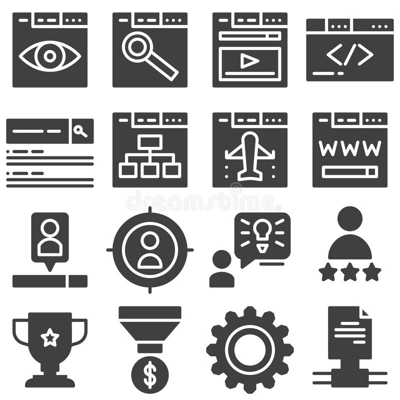 SEO vector icons set. Modern solid symbol collection filled style pictogram pack. Signs logo illustration. Set includes icons as web search, monitoring stock illustration