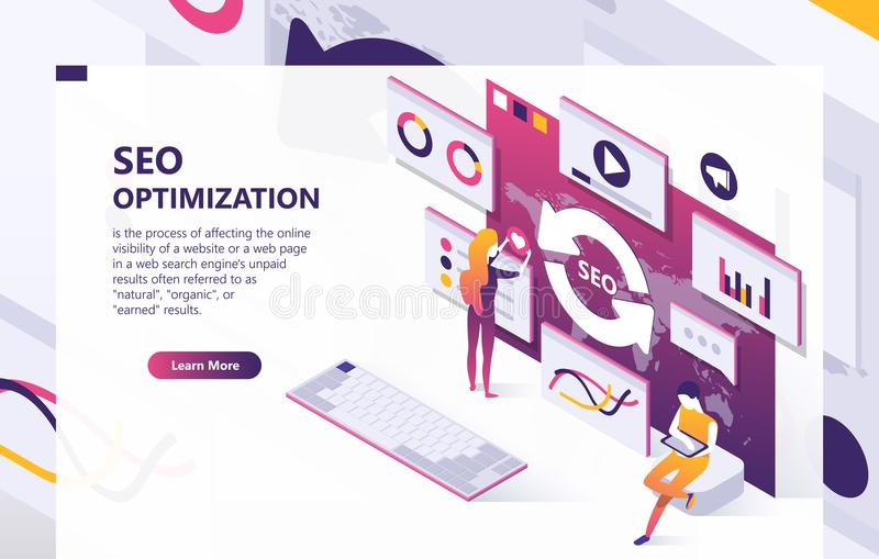SEO optimization vector isometric concept banner royalty free illustration