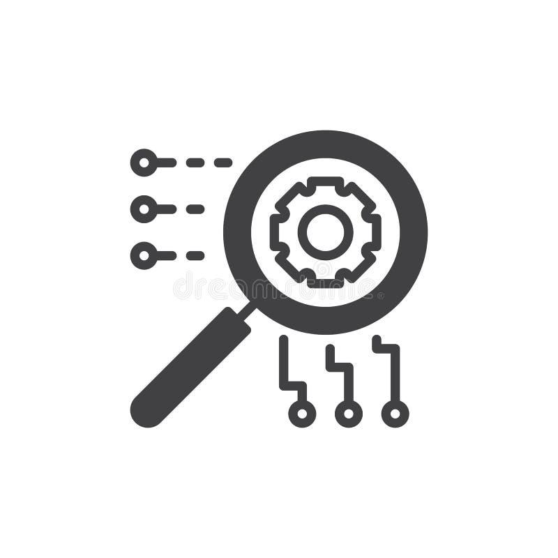 SEO vektor för symbol för sökandemotoroptimization, fyllt plant tecken, fast pictogram som isoleras på vit stock illustrationer