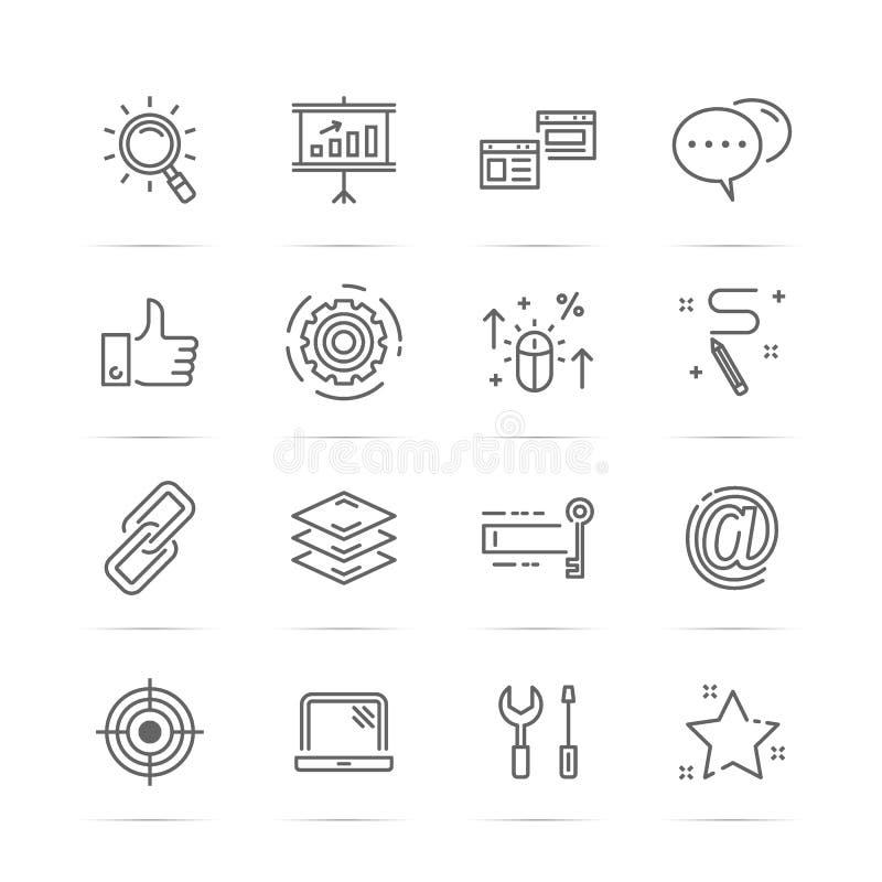 Seo vetorlinje symboler stock illustrationer