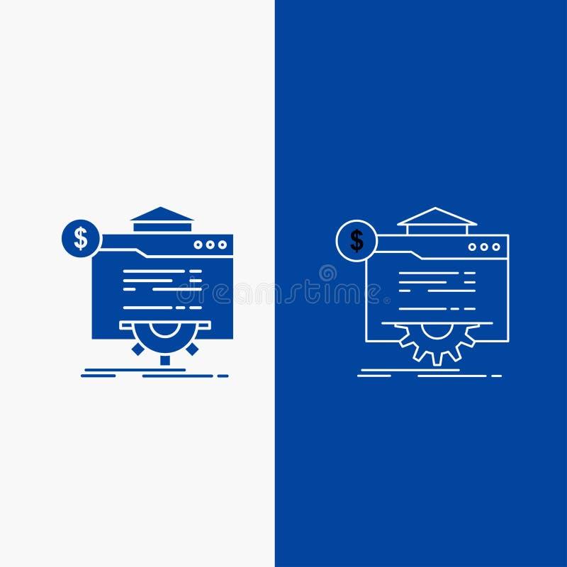 seo, vooruitgang, bol, technologie, websitelijn en Glyph-Webknoop in Blauwe kleuren Verticale Banner voor UI en UX, website of mo stock illustratie