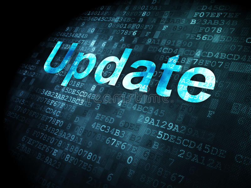 SEO web development concept: Update on digital background. SEO web development concept: pixelated words Update on digital background, 3d render