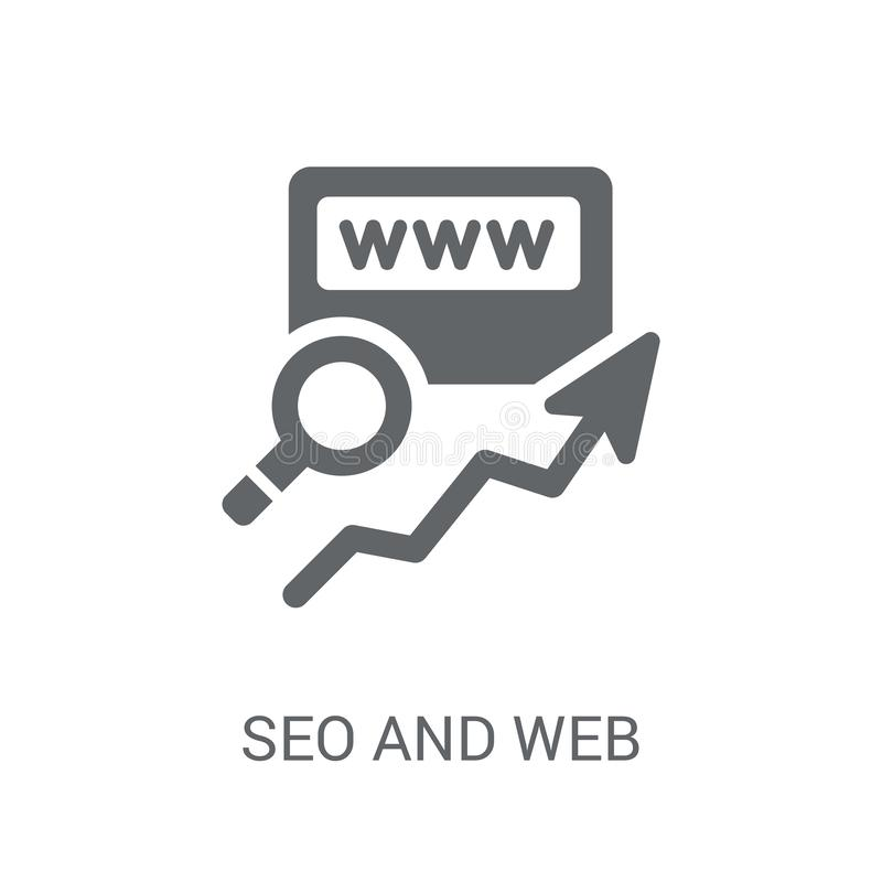 Seo and web icon. Trendy Seo and web logo concept on white background from Programming collection. Suitable for use on web apps, mobile apps and print media royalty free illustration