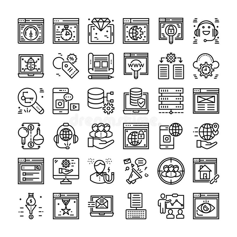 SEO and Web Icons Set vector illustration