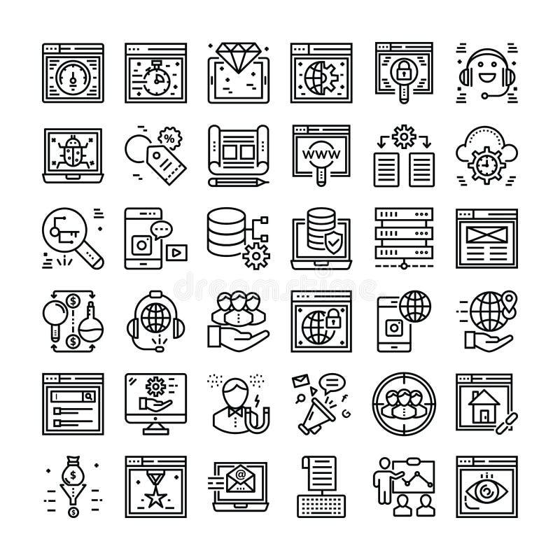 SEO and Web Icons Set stock illustration