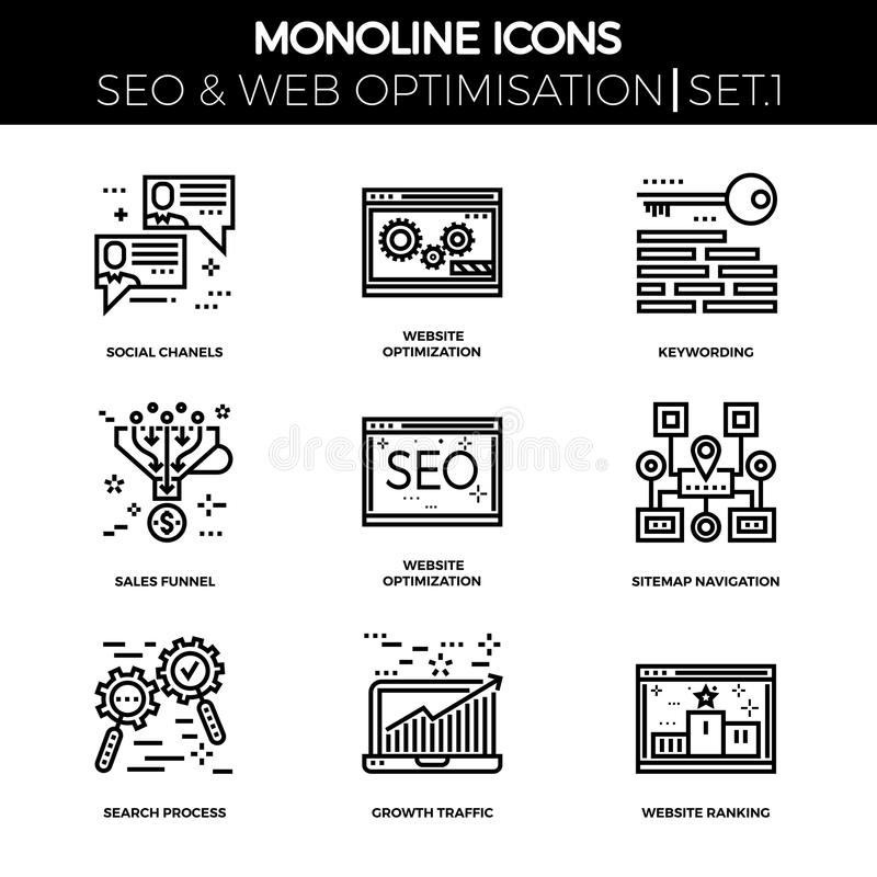 Seo and web opimization. Line icons set with flat design of search engine optimization. Social chanels, keywording, sales funnel, sitemap navigation, search vector illustration