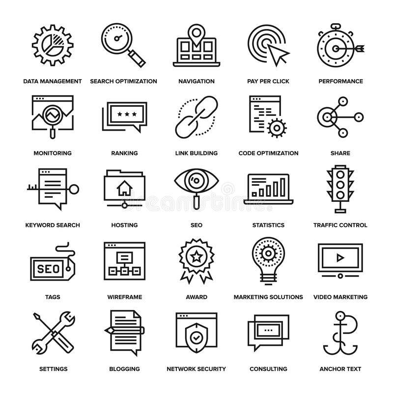 SEO and Web Optimization. Abstract vector collection of line SEO and web optimization icons. Elements for mobile and web applications royalty free illustration
