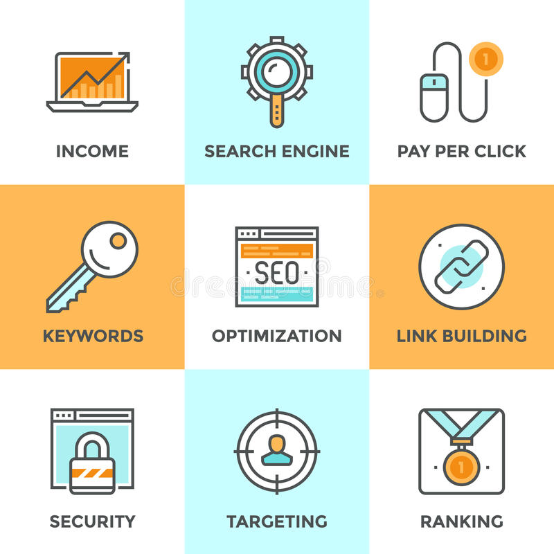 SEO and web optimization line icons set royalty free illustration