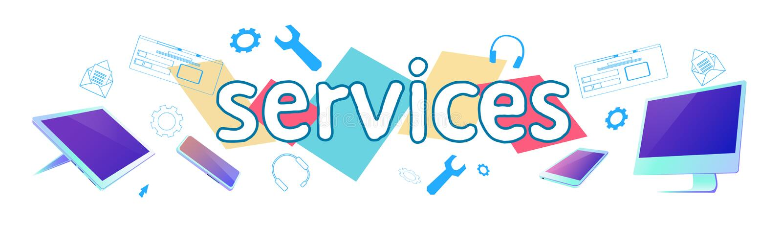 Seo web search services engine searching online browsing concept horizontal banner sketch doodle royalty free illustration