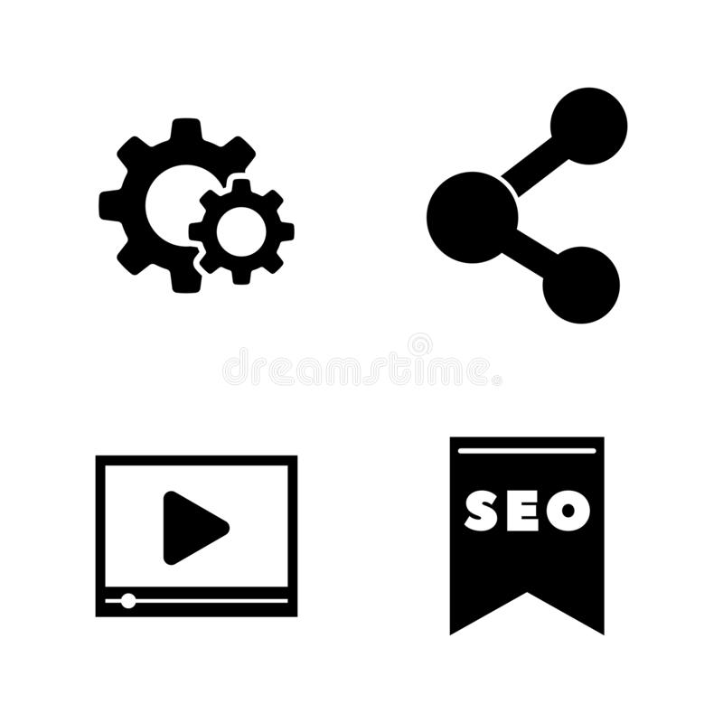 SEO, Website Promotion. Simple Related Vector Icons vector illustration