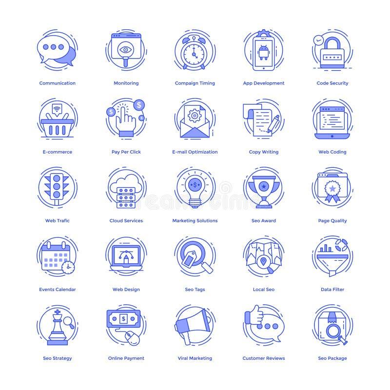 Seo Wektorowe ikony Ustawiać ilustracja wektor